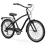 sixthreezero EVRYjourney Men's 7-Speed Hybrid Alloy Cruiser Bicycle, Matte Black w/Black Seat/Grips,...