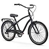 sixthreezero EVRYjourney Men's 7-Speed Hybrid Cruiser Bicycle, Matte Black w/Black Seat/Grips, 26'...