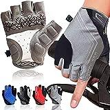 Cycling Gloves for Men Half Finger Road Bike Fingerless Gel Padded Mountain Biking Anti Slip...