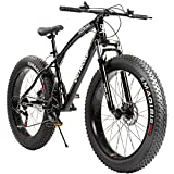 Max4out Fat Tire Mountain Bike 21 Speed Shimano Derailleur, with High Carbon Steel Frame, Double...